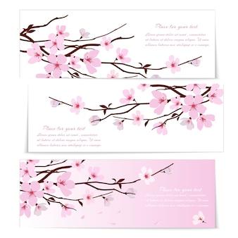 Drie banners met verse roze siersaksakura bloemen of kersenbloesem