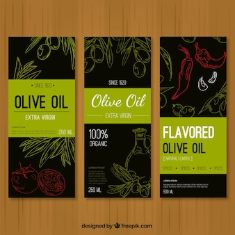 Drie banners schetsen van olijfolie