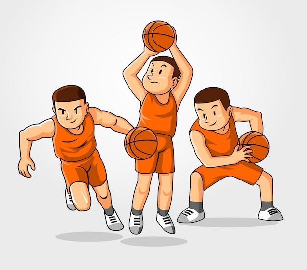 Drie basketbalstijl.