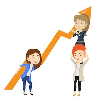 Drie bedrijfsvrouwen die de groeigrafiek houden.