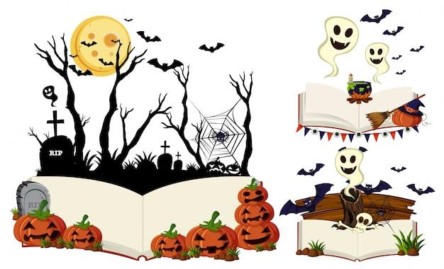 Drie boeken met halloween-scènes