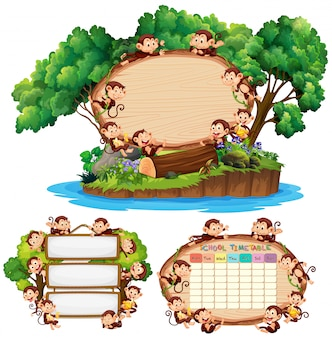 Drie bordsjabloon met gelukkige apen op achtergrond