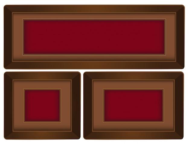 Drie bruine kaders met rode achtergrond