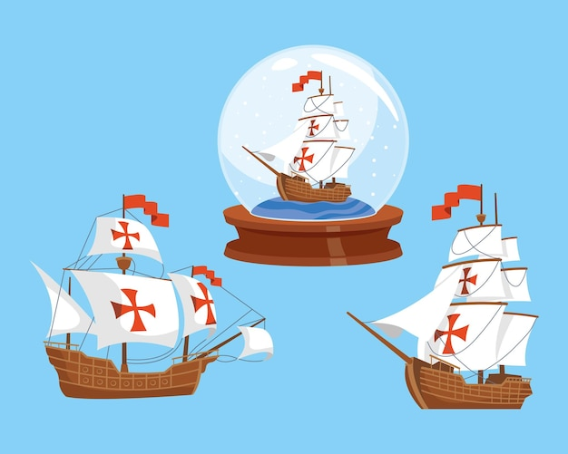 Drie columbus day caravels