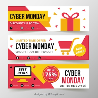 Drie cyber maandag banners