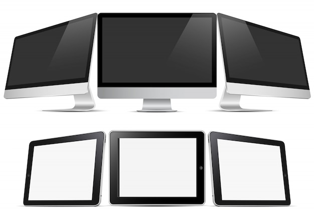 Drie desktopcomputers en drie tablets (pc)
