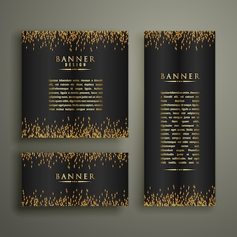 Drie donkere banners met glitter of sparkles