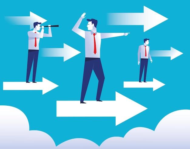 Drie elegante zakenliedenarbeiders die in de illustratie van pijlenkarakters vliegen
