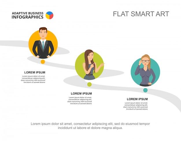 Drie elementen verwerken grafieksjabloon voor presentatie. visualisatie van bedrijfsgegevens.