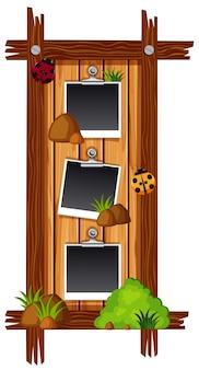 Drie fotolijsten op een houten bord in de vorm van een rechthoek