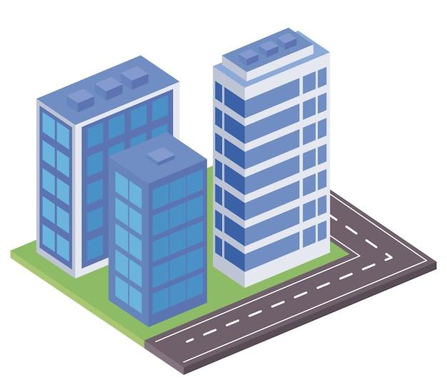 Drie gebouwen en wegscène
