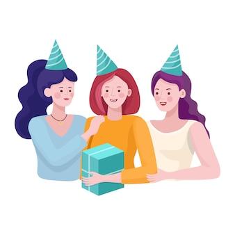 Drie gelukkige glimlachende meisjes die huidig geven aan vriendenillustratie. gelukkige verjaardag, vakantie platte concept.