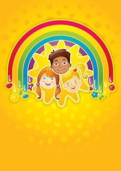 Drie gelukkige kinderen in een regenboog en de zon - sjabloon, vector