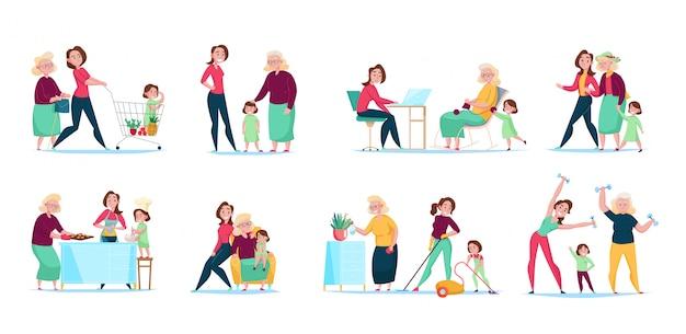 Drie generaties vrouwen familie dagelijkse routine 8 platte composities horizontale sets met winkelen schoonmaken koken illustratie