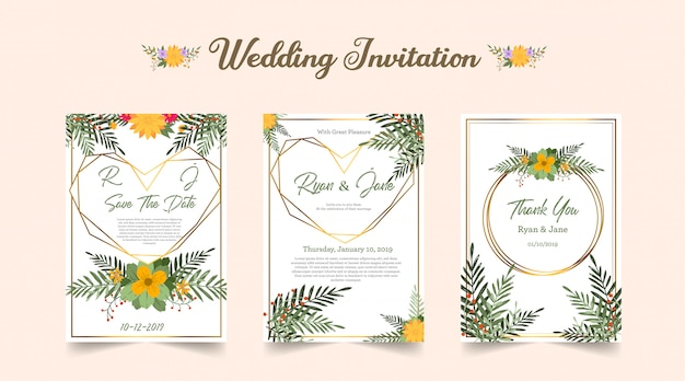 Drie gevouwen bruiloft uitnodiging met groen oranje bloem
