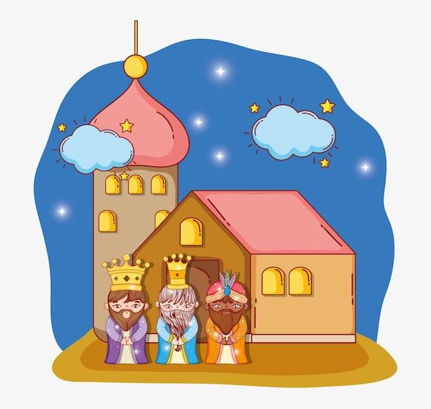 Drie goochelaars koningen met sterren en wolken