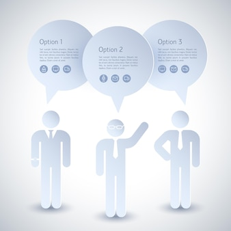 Drie grijze zakenmansamenstelling met wolken boven hun hoofd en drie opties
