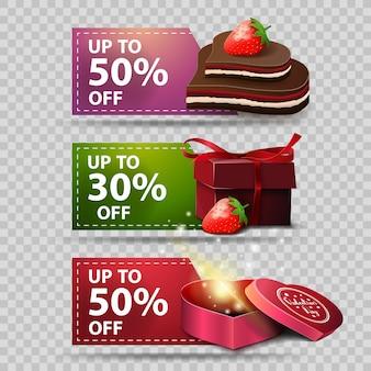 Drie groet banners voor valentijnsdag met chocolade en geschenken
