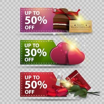 Drie groet banners voor valentijnsdag met liefdesbrieven, bloemen, harten en chocolade