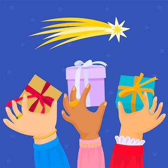 Drie handen met geschenken. koningen van orient.