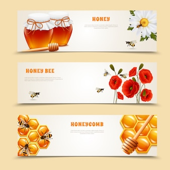 Drie honey banner set