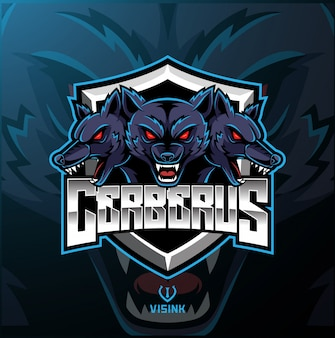 Drie hoofd cerberus mascotte logo