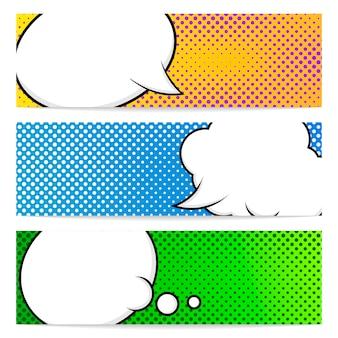 Drie horizontale banners met pop-artstijl. tekstballonnen in stripstijl