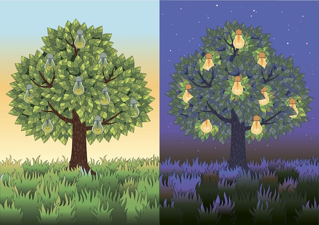 Drie horizontale illustraties met bomen in de ochtend en nacht