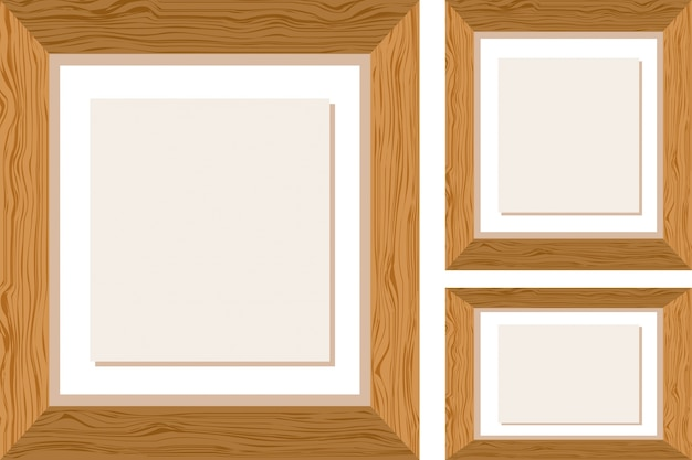 Drie houten kaders in verschillende maten