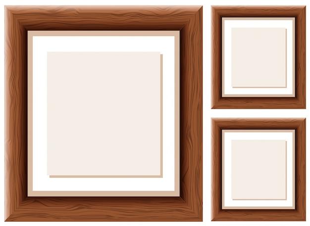 Drie houten kaders met bruin papier binnen