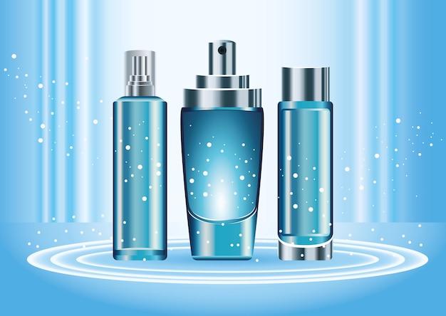 Drie huidverzorgingsflessen producten kleur blauw set pictogrammen illustratie