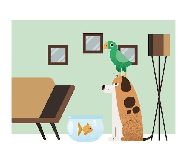Drie huisdieren in huisscène