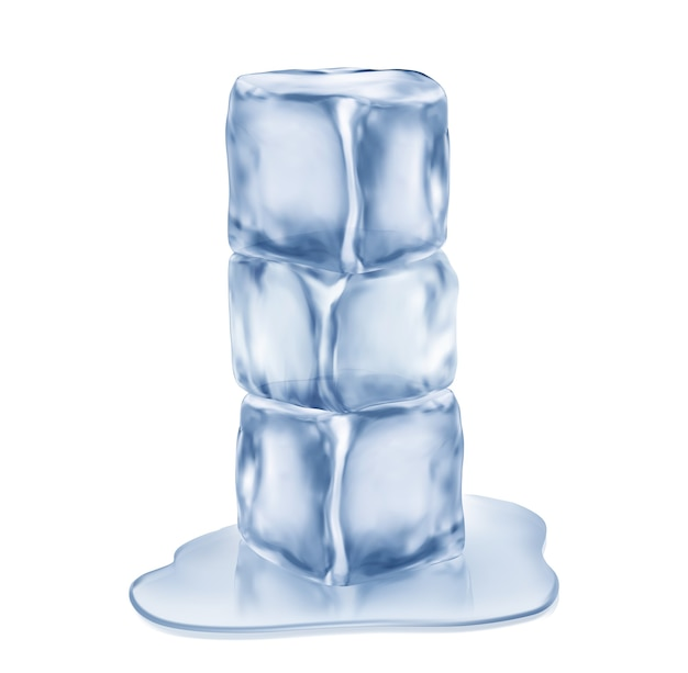 Drie ijsblokjes, geïsoleerd op een witte achtergrond.