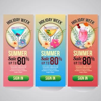 Drie illustratie van de de website tropische cocktail van de de zomervakantie verticale banner