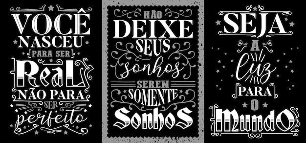Drie inspirerende vintage poster in braziliaans portugees. vertaling: