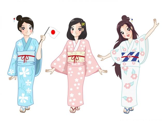 Drie japanse meisjes die de vrouwen van japan dragen passen bij een festival aan.