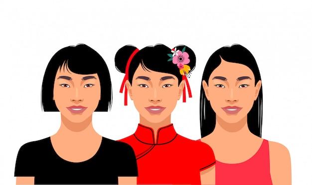 Drie jonge aantrekkelijke aziatische vrouwen