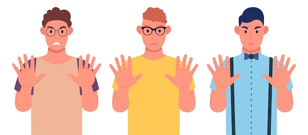 Drie jonge mannen van verschillende nationaliteiten tonen een stopgebaar met hun handen. karakterset. vector illustratie.
