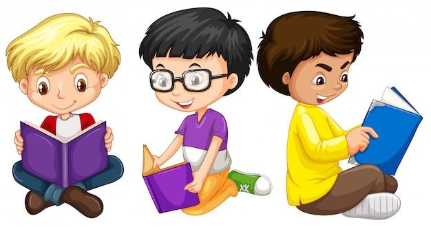 Drie jongens die boeken lezen