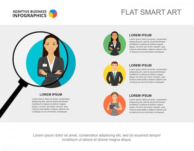 Drie kandidaten verwerken grafieksjabloon voor presentatie. visualisatie van bedrijfsgegevens.