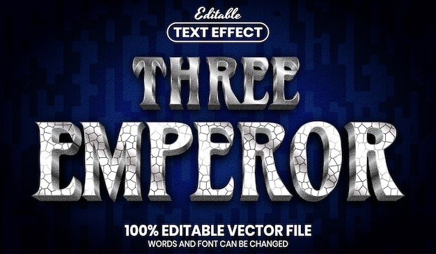 Drie keizertekst, bewerkbaar teksteffect in lettertypestijl