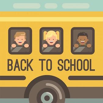Drie kinderen kijken uit de ramen van een gele schoolbus, twee jongens en een meisje