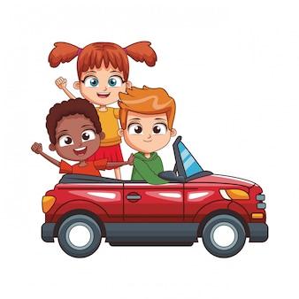 Drie kinderen rijden auto