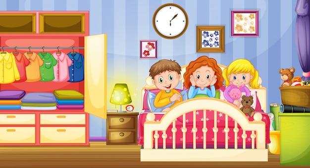 Drie kinderen slapen in de slaapkamer