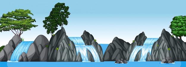 Drie kleine watervallen en groot meer