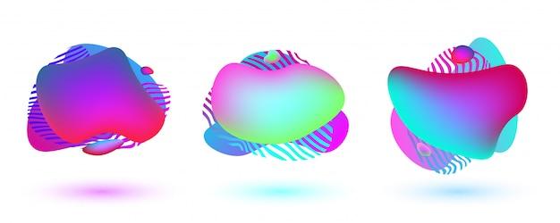 Drie kleurrijke abstracte vormen. vloeibare dynamische vormen met levendige kleuren
