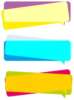 Drie kleurrijke banners op witte achtergrond