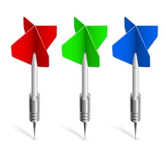 Drie kleurrijke darts