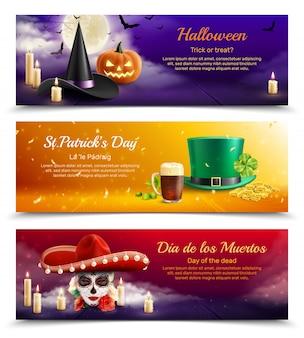 Drie kleurrijke horizontale banners toonden traditionele maskeradehoeden voor realistische nationale feestdagen van verschillende landen