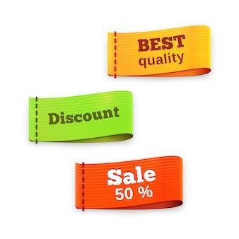 Drie kleurrijke vector stof labellabels lezen - beste kwaliteit - korting - verkoop 50 procent - voor detailhandel en winkelen met textuur en dimensie